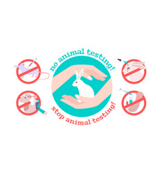 Stop animal testing concept vector