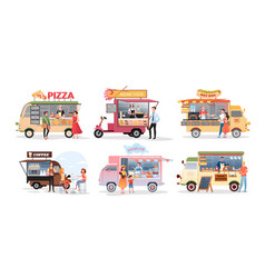 street market food truck outdoor cafe vector image