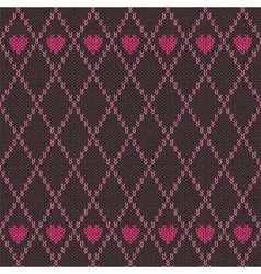Style Seamless Pink Brown Color Knitted Pattern vector image vector image