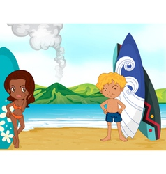 Surfers at the beach vector image