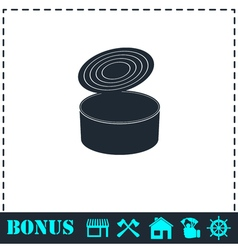 Tin can icon flat vector image