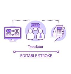 Translation services concept icon translator vector