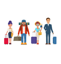travelers people with luggage vector image