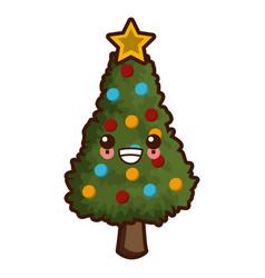 Tree chrsitmas isolated cute kawaii cartoon vector