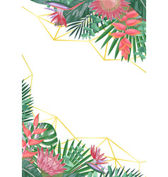 Tropical flower and geometric background vector