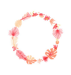 tropical flower botanical round wreath vector image
