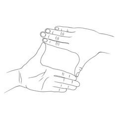 Two hands crop vector