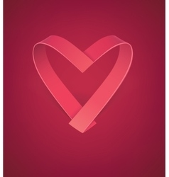 valentines card with heart ribbon vector image