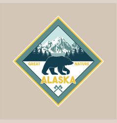 vintage badge with wild bear in alaska vector image