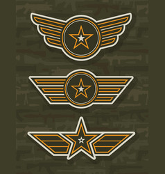 Vintage military and army badges vector