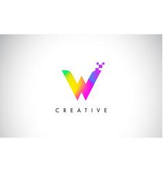 W colorful logo letter design creative rainbow vector