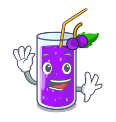 waving glass grape juice on character table vector image