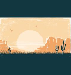 Western american desert nature background vintage vector