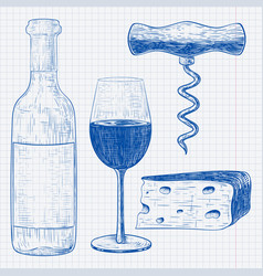 wine set blue hand drawn sketch vintage style vector image
