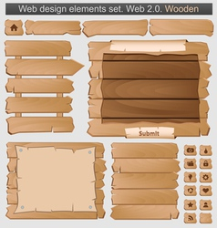 Wooden web elements set vector