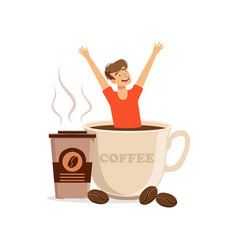 Young man sitting in oversized cup of coffee vector