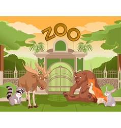 Zoo gate with forest animals 2 vector
