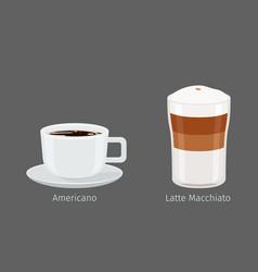 Americano and latte macchiato coffee vector
