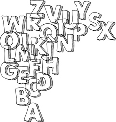 Black bacground with letters of alphabet vector image