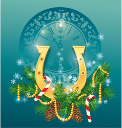 christmas and new year background with golden hors vector image vector image