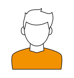 color contour cartoon faceless half body man with vector image