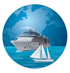 cruise ship and luxury yacht vector image