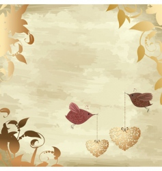 gold valentines with a bird vector image vector image
