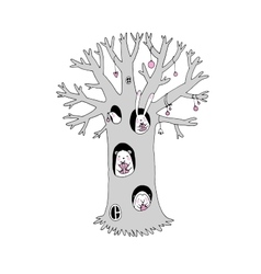 Magic tree animals and gifts vector image vector image