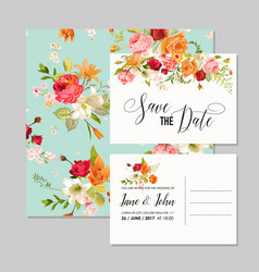 Set of wedding cards with lily flowers vector
