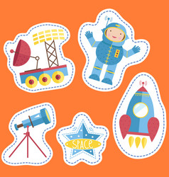 Variety forms price tags with space cartoons vector