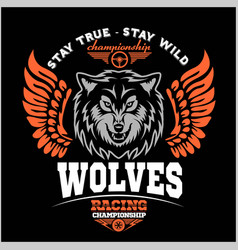 wolf biker and wings on dark background vector image