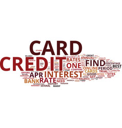 zero percent credit cards text background word vector image