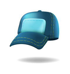 blue baseball hat isolated white vector image vector image