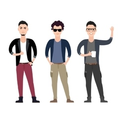 Casual young men character flat set in different vector image