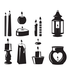 monochrome symbols of candles for birthday vector image vector image