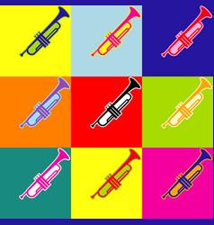 musical instrument trumpet sign pop-art vector image