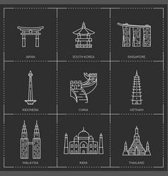 asian famous landmarks vector image
