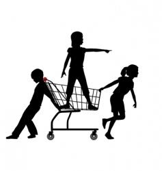 children shopping vector image vector image