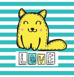 Cute cat on striped background vector image