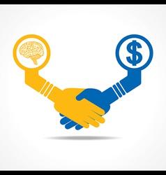 handshake between men having idea and money vector image vector image
