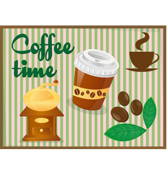 poster coffee time on a blackboard vector image