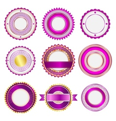 Set of badges labels and stickers in pink vector image vector image