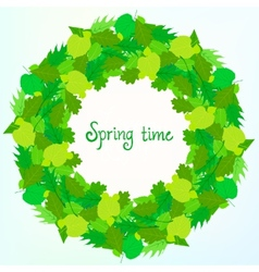 Spring card background with wreath of leaves vector image vector image