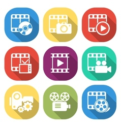 Trendy flat media icon pack vector image