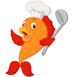 Cartoon chef fish holding soup ladle vector image