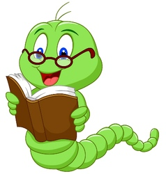 Cartoon worm reading book vector image