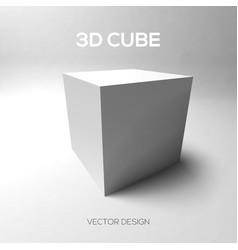 Cube 3D on gray background vector image vector image