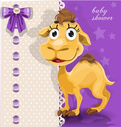 Delicate baby shower card with cute baby camel vector image vector image