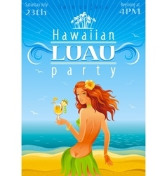 Luau party poster vector image vector image