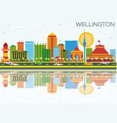 wellington skyline with color buildings blue sky vector image